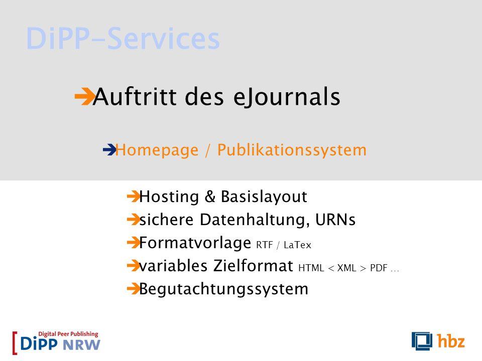 Auftritt des eJournals Homepage / Publikationssystem Hosting & Basislayout sichere Datenhaltung, URNs Formatvorlage RTF / LaTex variables Zielformat H