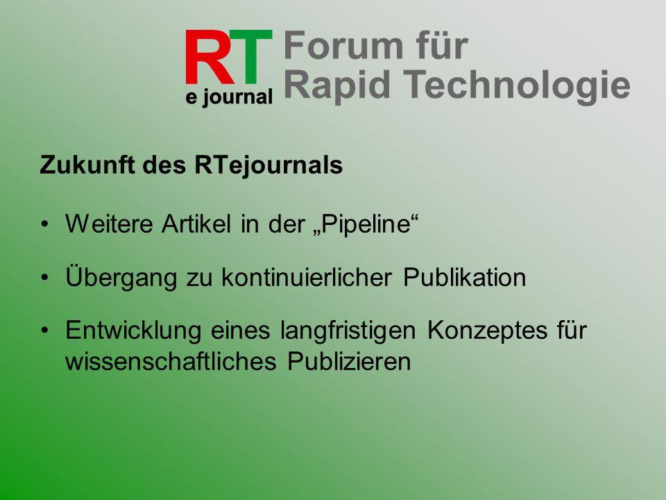 Zukunft des RTejournals Weitere Artikel in der Pipeline Übergang zu kontinuierlicher Publikation Entwicklung eines langfristigen Konzeptes für wissens