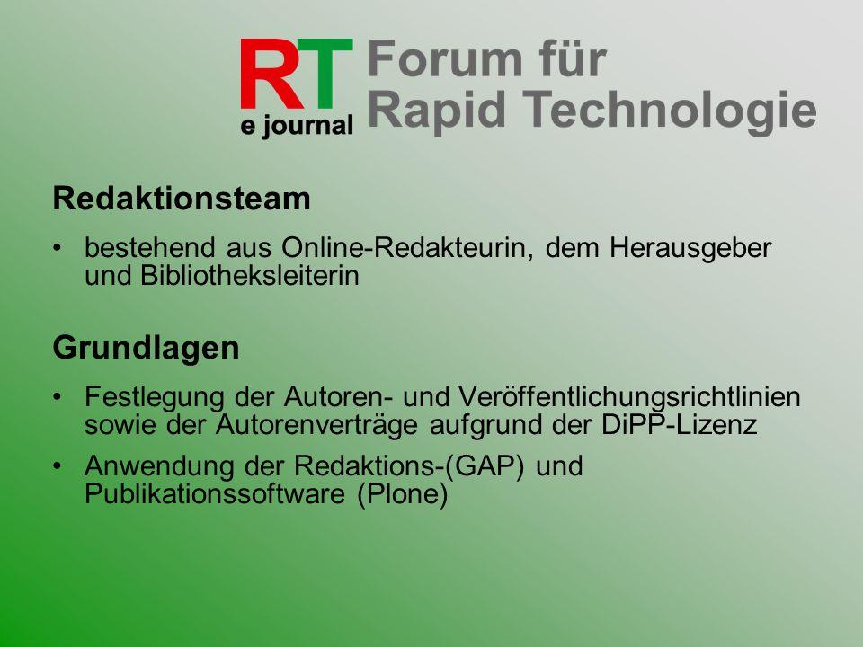 Redaktionsteam bestehend aus Online-Redakteurin, dem Herausgeber und Bibliotheksleiterin Grundlagen Festlegung der Autoren- und Veröffentlichungsricht