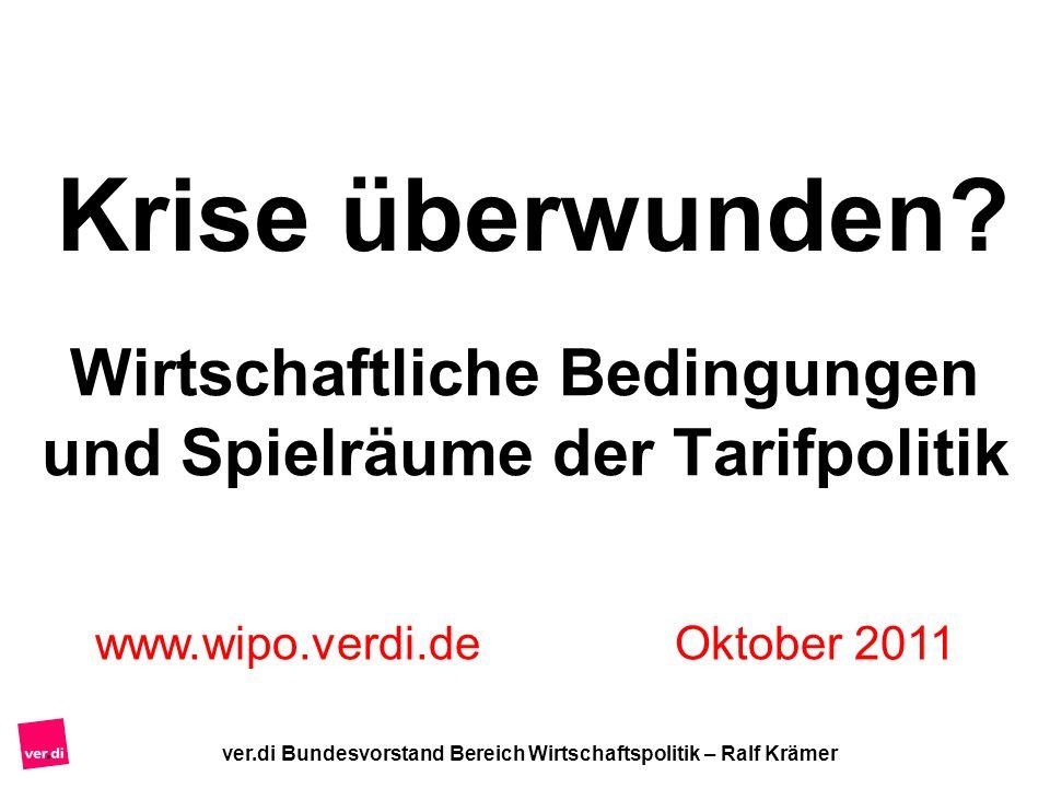 ver.di Bundesvorstand Bereich Wirtschaftspolitik – Ralf Krämer Wirtschaftliche Bedingungen und Spielräume der Tarifpolitik www.wipo.verdi.de Oktober 2