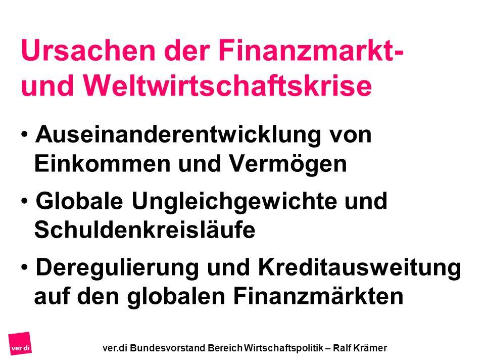 Ursachen der Finanzmarkt- und Weltwirtschaftskrise Auseinanderentwicklung von Einkommen und Vermögen Globale Ungleichgewichte und Schuldenkreisläufe D