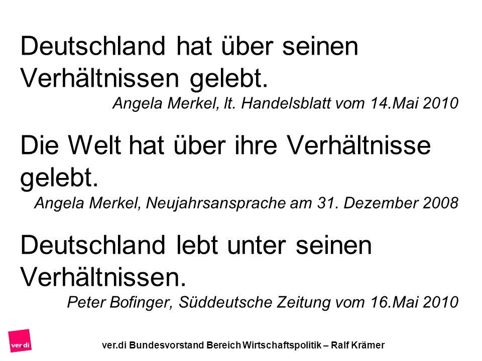 ver.di Bundesvorstand Bereich Wirtschaftspolitik – Ralf Krämer Deutschland hat über seinen Verhältnissen gelebt. Angela Merkel, lt. Handelsblatt vom 1