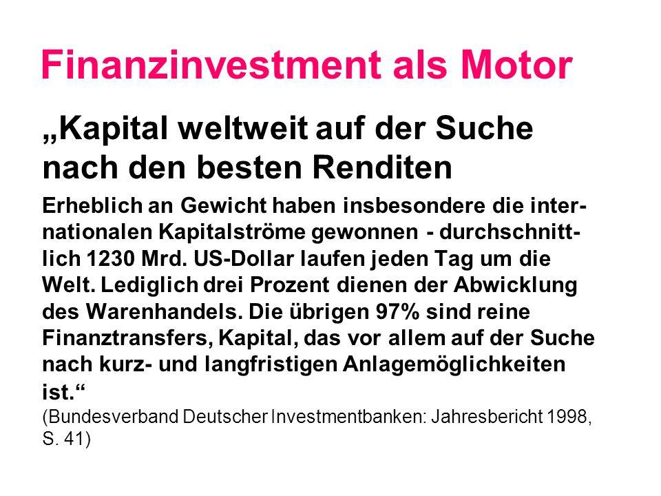 Finanzinvestment als Motor Kapital weltweit auf der Suche nach den besten Renditen Erheblich an Gewicht haben insbesondere die inter- nationalen Kapitalströme gewonnen - durchschnitt- lich 1230 Mrd.