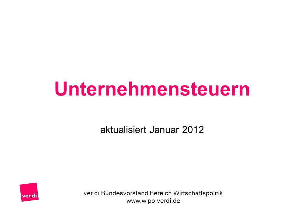 Unternehmensteuern aktualisiert Januar 2012 ver.di Bundesvorstand Bereich Wirtschaftspolitik www.wipo.verdi.de