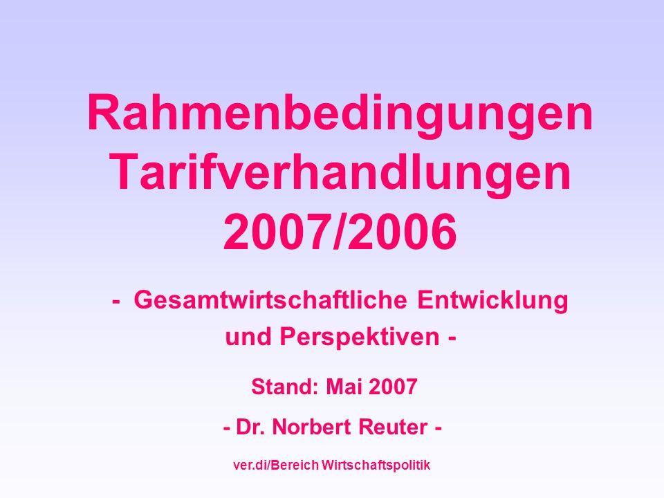 ver.di/Bereich Wirtschaftspolitik Rahmenbedingungen Tarifverhandlungen 2007/2006 - Gesamtwirtschaftliche Entwicklung und Perspektiven - Stand: Mai 200