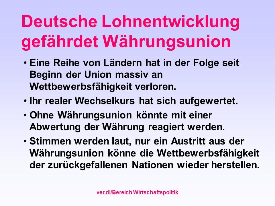 ver.di/Bereich Wirtschaftspolitik Deutsche Lohnentwicklung gefährdet Währungsunion Eine Reihe von Ländern hat in der Folge seit Beginn der Union massi
