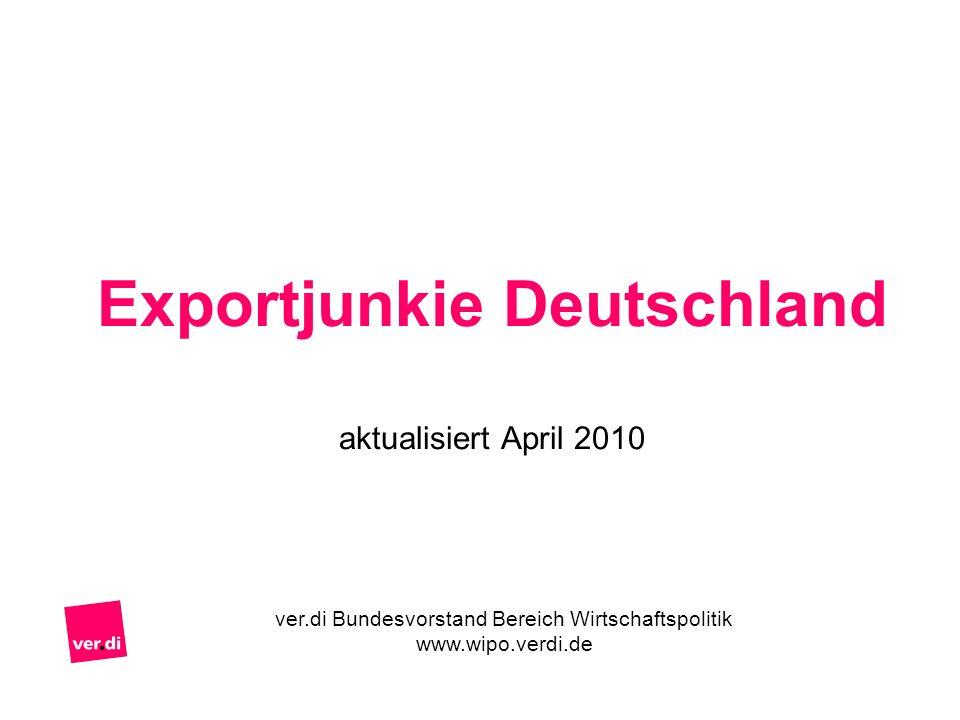 Exportjunkie Deutschland aktualisiert April 2010 ver.di Bundesvorstand Bereich Wirtschaftspolitik www.wipo.verdi.de