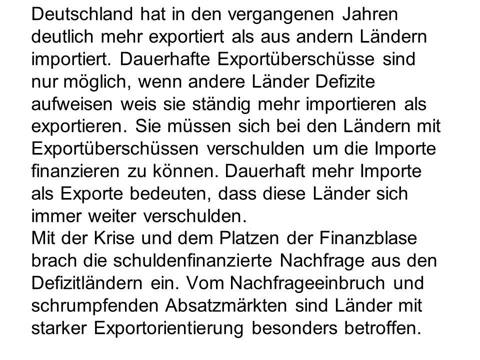 Deutschland hat in den vergangenen Jahren deutlich mehr exportiert als aus andern Ländern importiert.