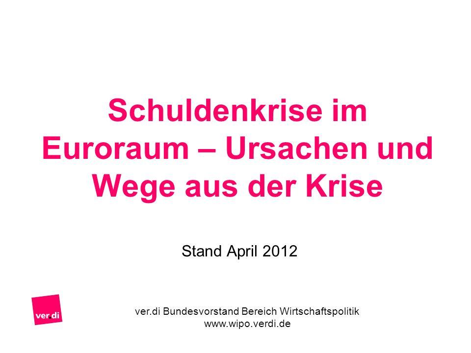 Schuldenkrise im Euroraum – Ursachen und Wege aus der Krise Stand April 2012 ver.di Bundesvorstand Bereich Wirtschaftspolitik www.wipo.verdi.de