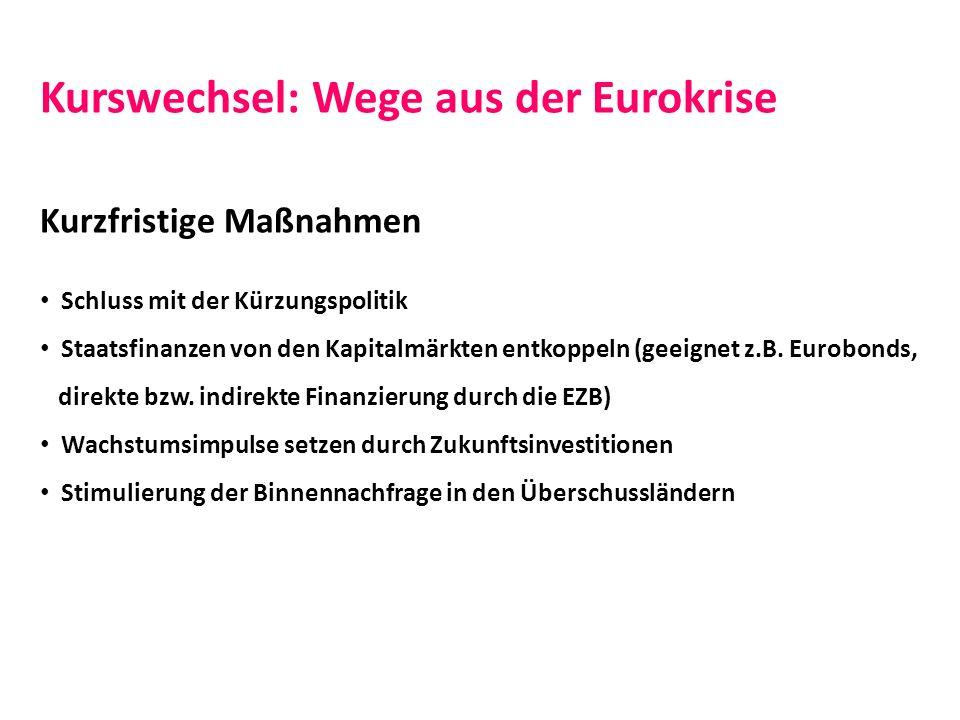 Kurswechsel: Wege aus der Eurokrise Kurzfristige Maßnahmen Schluss mit der Kürzungspolitik Staatsfinanzen von den Kapitalmärkten entkoppeln (geeignet