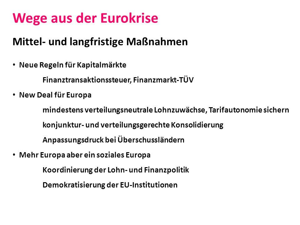 Wege aus der Eurokrise Mittel- und langfristige Maßnahmen Neue Regeln für Kapitalmärkte Finanztransaktionssteuer, Finanzmarkt-TÜV New Deal für Europa
