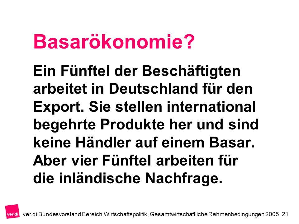 ver.di Bundesvorstand Bereich Wirtschaftspolitik, Gesamtwirtschaftliche Rahmenbedingungen 200521 Basarökonomie.