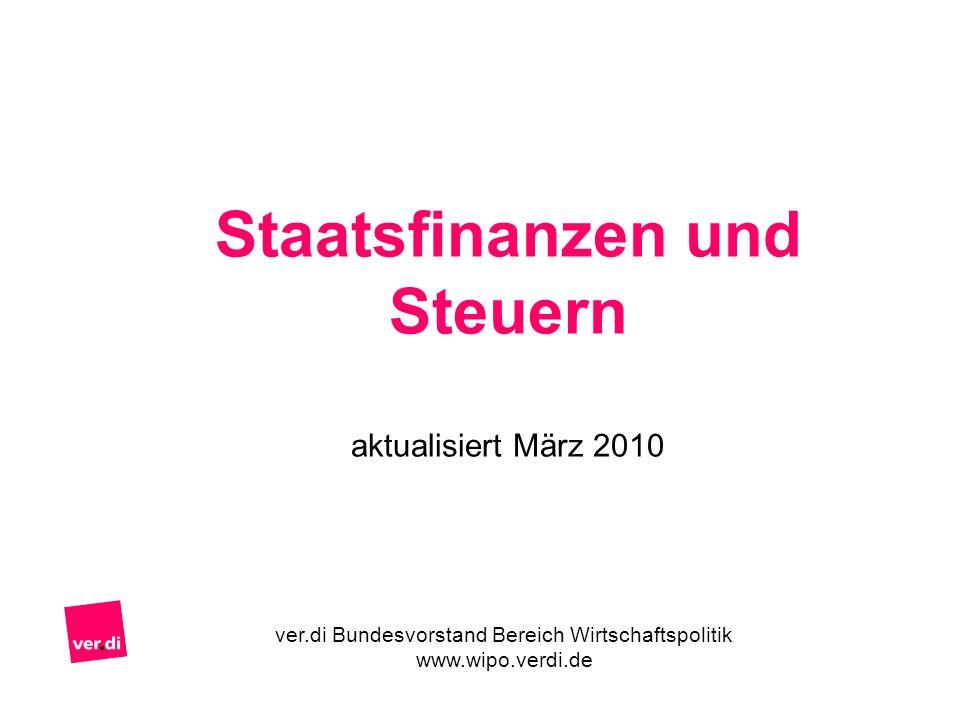 Staatsfinanzen und Steuern aktualisiert März 2010 ver.di Bundesvorstand Bereich Wirtschaftspolitik www.wipo.verdi.de