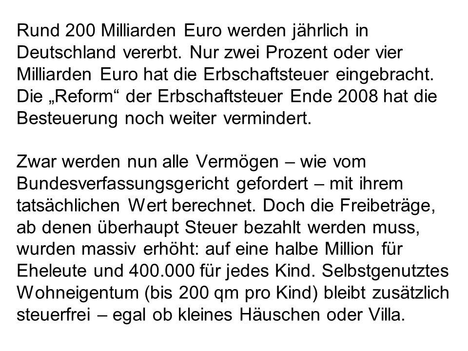 Rund 200 Milliarden Euro werden jährlich in Deutschland vererbt. Nur zwei Prozent oder vier Milliarden Euro hat die Erbschaftsteuer eingebracht. Die R