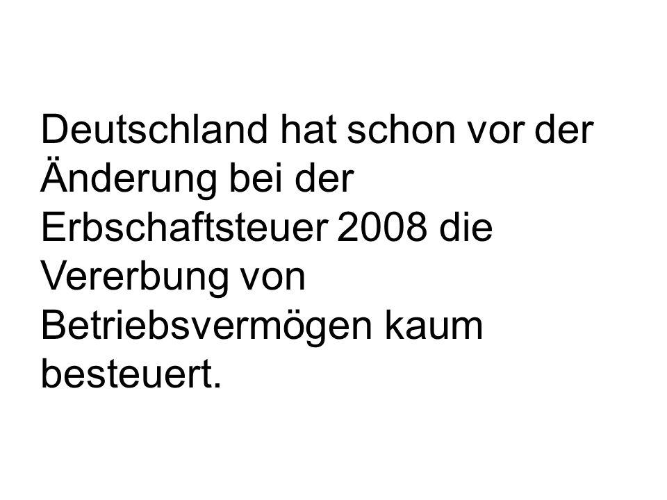 Deutschland hat schon vor der Änderung bei der Erbschaftsteuer 2008 die Vererbung von Betriebsvermögen kaum besteuert.