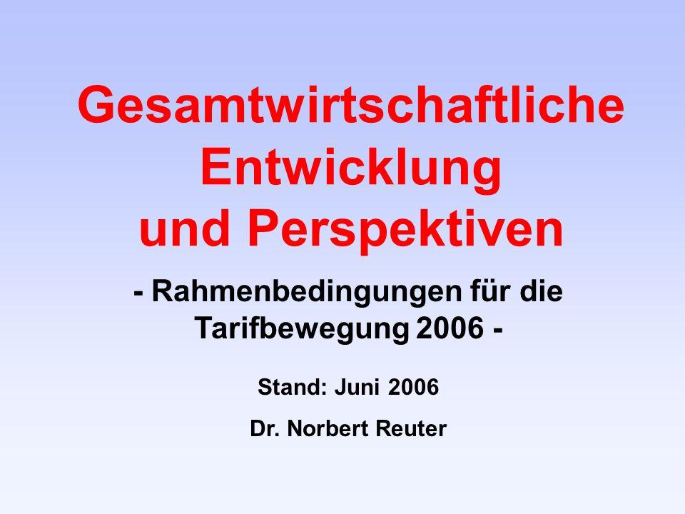 Gesamtwirtschaftliche Entwicklung und Perspektiven - Rahmenbedingungen für die Tarifbewegung 2006 - Stand: Juni 2006 Dr.