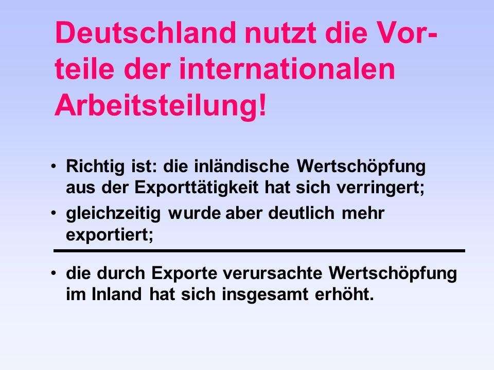 Deutschland nutzt die Vor- teile der internationalen Arbeitsteilung.