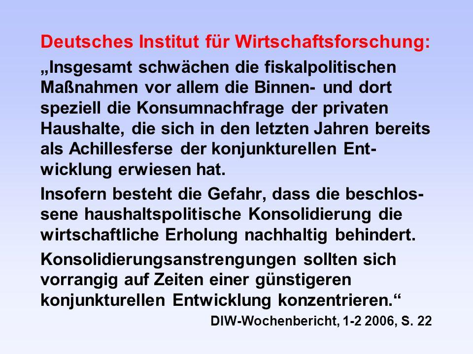 Deutsches Institut für Wirtschaftsforschung: Insgesamt schwächen die fiskalpolitischen Maßnahmen vor allem die Binnen- und dort speziell die Konsumnachfrage der privaten Haushalte, die sich in den letzten Jahren bereits als Achillesferse der konjunkturellen Ent- wicklung erwiesen hat.