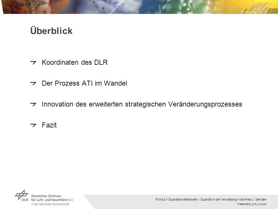 Praesentation_DLR_Linz.pps Folie 2 > Qualitätswettbewerb - Qualität in der Verwaltung > Manfred J. Senden Überblick Koordinaten des DLR Der Prozess AT