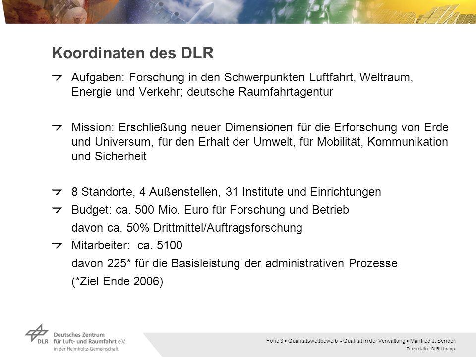 Praesentation_DLR_Linz.pps Folie 3 > Qualitätswettbewerb - Qualität in der Verwaltung > Manfred J. Senden Koordinaten des DLR Aufgaben: Forschung in d