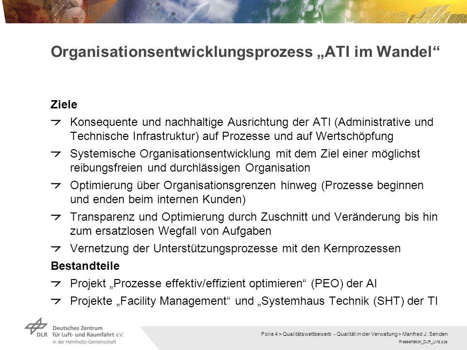 Praesentation_DLR_Linz.pps Folie 4 > Qualitätswettbewerb - Qualität in der Verwaltung > Manfred J. Senden Ziele Konsequente und nachhaltige Ausrichtun