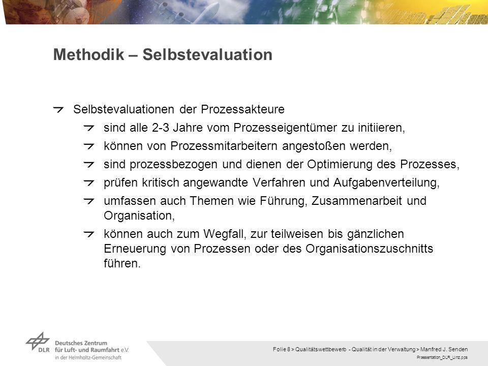 Praesentation_DLR_Linz.pps Folie 8 > Qualitätswettbewerb - Qualität in der Verwaltung > Manfred J. Senden Methodik – Selbstevaluation Selbstevaluation