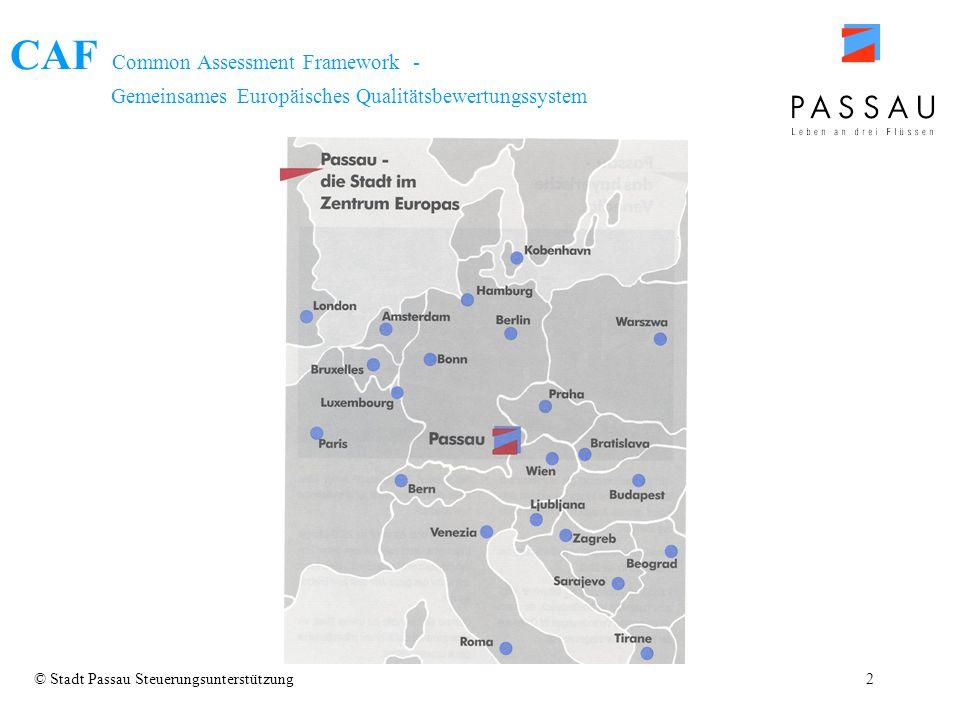 CAF Common Assessment Framework - Gemeinsames Europäisches Qualitätsbewertungssystem © Stadt Passau Steuerungsunterstützung2