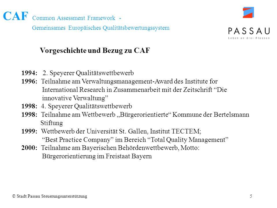 CAF Common Assessment Framework - Gemeinsames Europäisches Qualitätsbewertungssystem 1994: 2. Speyerer Qualitätswettbewerb 1996: Teilnahme am Verwaltu