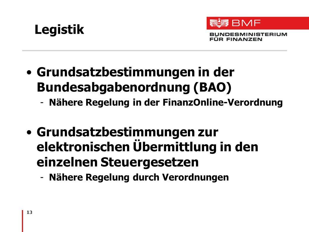13 Legistik Grundsatzbestimmungen in der Bundesabgabenordnung (BAO) -Nähere Regelung in der FinanzOnline-Verordnung Grundsatzbestimmungen zur elektron