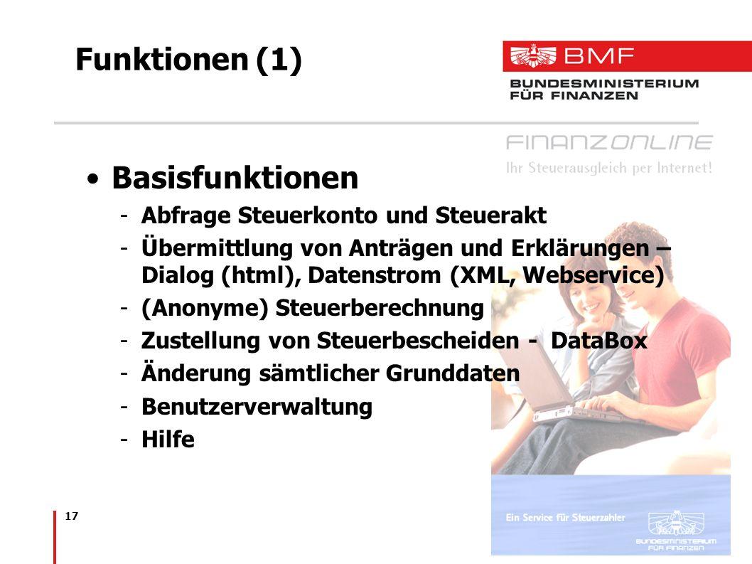 17 Funktionen (1) Basisfunktionen -Abfrage Steuerkonto und Steuerakt -Übermittlung von Anträgen und Erklärungen – Dialog (html), Datenstrom (XML, Webs