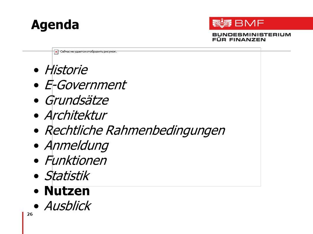 26 Agenda Historie E-Government Grundsätze Architektur Rechtliche Rahmenbedingungen Anmeldung Funktionen Statistik Nutzen Ausblick