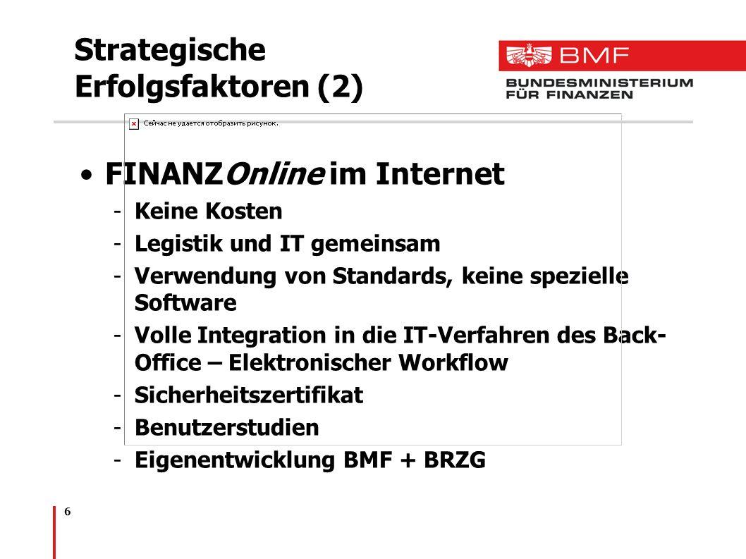 6 Strategische Erfolgsfaktoren (2) FINANZOnline im Internet -Keine Kosten -Legistik und IT gemeinsam -Verwendung von Standards, keine spezielle Softwa