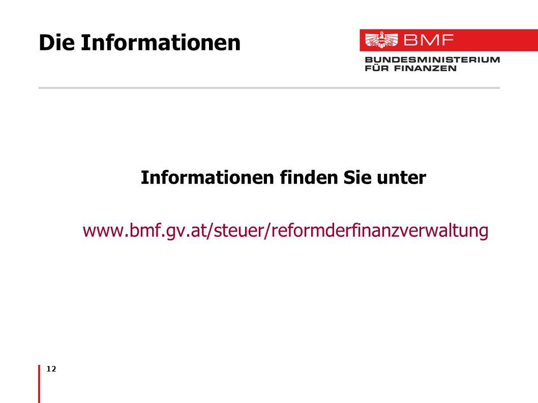 12 Die Informationen Informationen finden Sie unter www.bmf.gv.at/steuer/reformderfinanzverwaltung