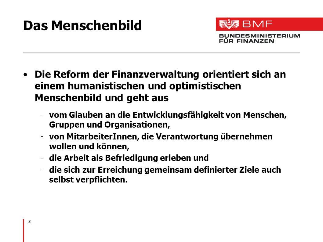 3 Das Menschenbild Die Reform der Finanzverwaltung orientiert sich an einem humanistischen und optimistischen Menschenbild und geht aus -vom Glauben a