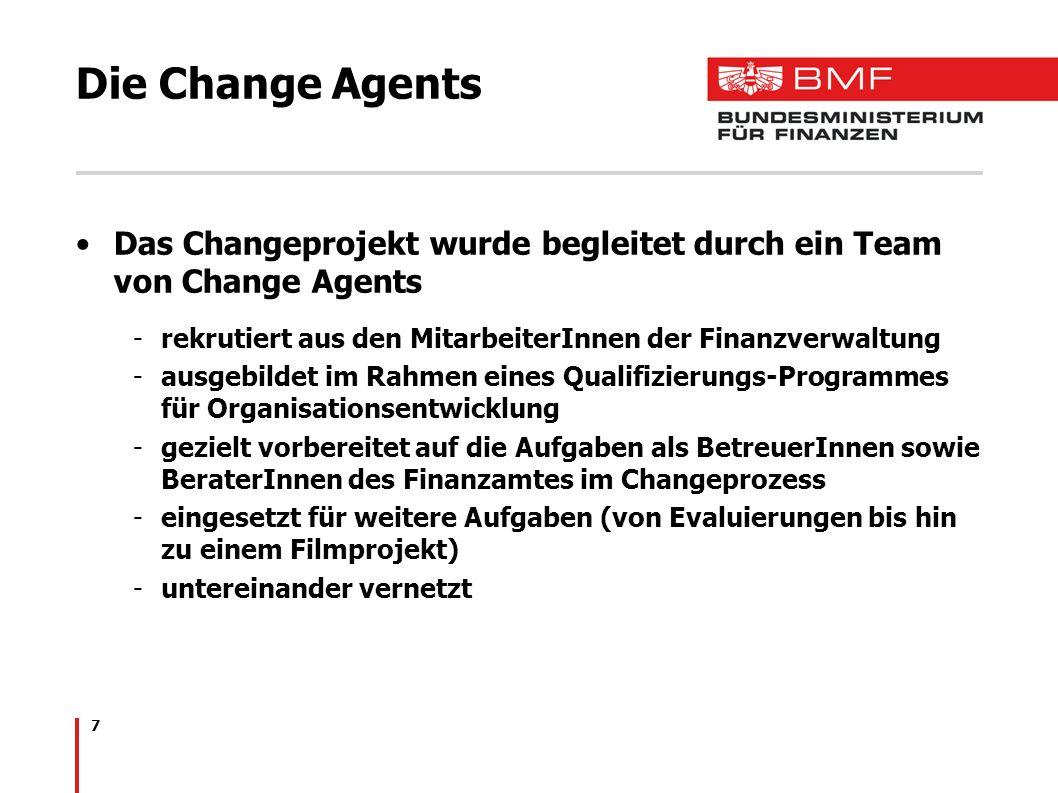 7 Die Change Agents Das Changeprojekt wurde begleitet durch ein Team von Change Agents -rekrutiert aus den MitarbeiterInnen der Finanzverwaltung -ausg