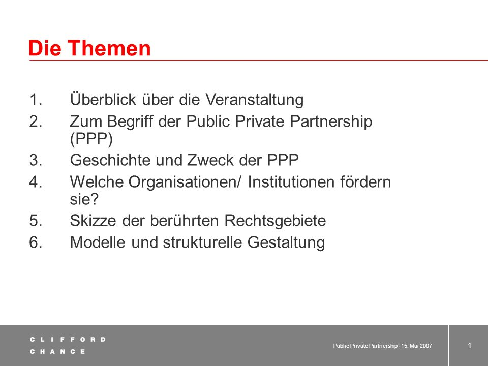 Public Private Partnership Dr. Thomas Gasteyer Rainer Grell 15. Mai 2007 Einführung Deutsche Hochschule für Verwaltungswissenschaften