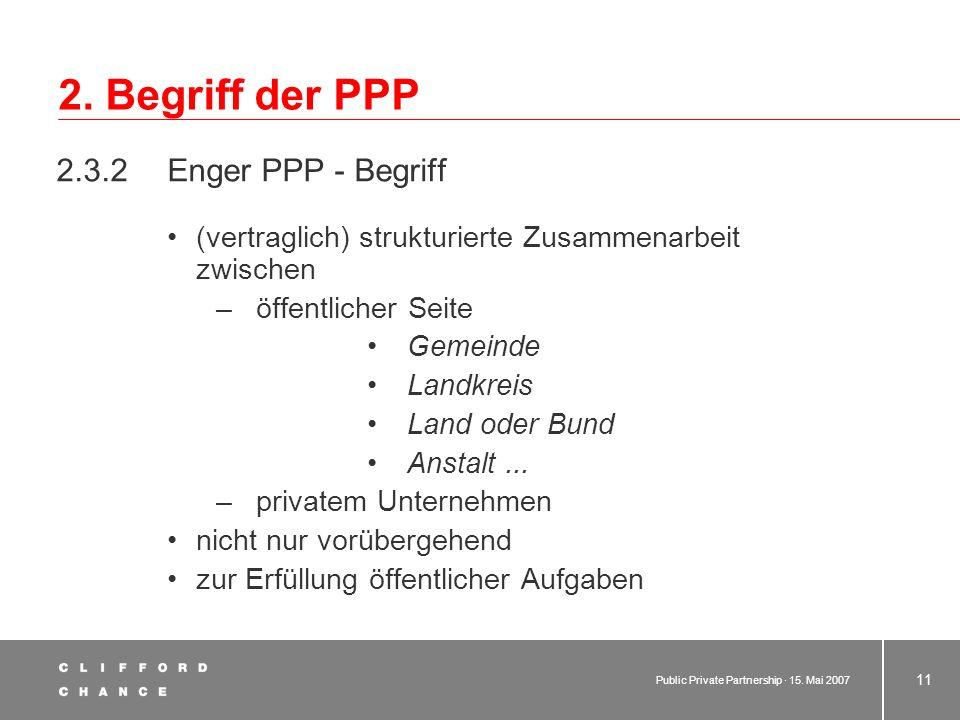 Public Private Partnership · 15. Mai 2007 10 2. Begriff der PPP 2.3 PPP: Terminologische Einordnung 2.3.1 Weiter PPP - Begriff - schließt unstrukturie