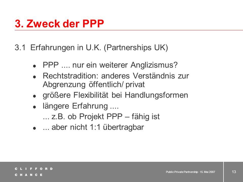 Public Private Partnership · 15. Mai 2007 12 2. Begriff der PPP 2.4 Schaubild zur terminologischen Einordnung PPP Eigen- erledigung Materielle Privati