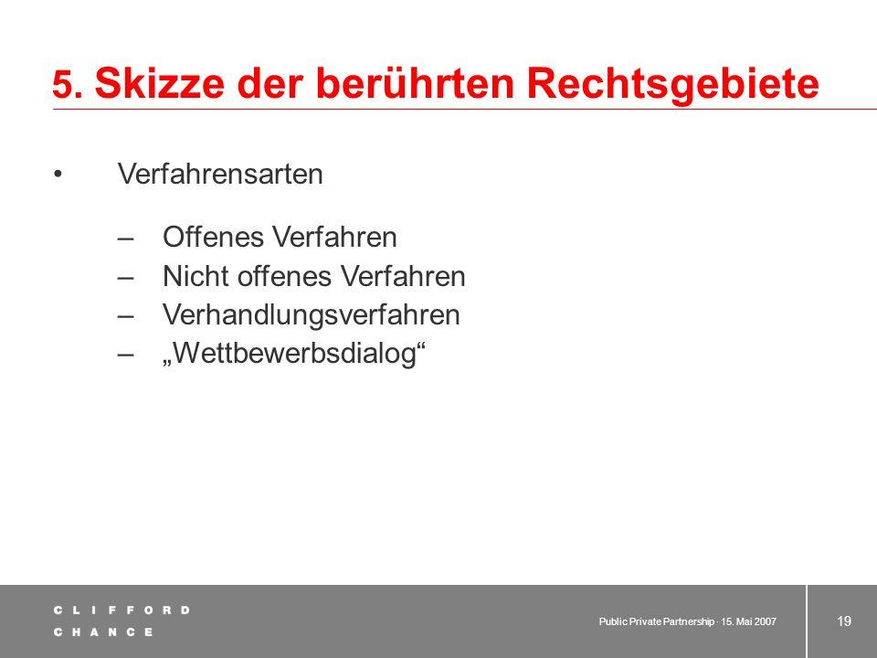 Public Private Partnership · 15. Mai 2007 18 5. Skizze der berührten Rechtsgebiete 5.2 Vergaberecht 5.2.1 Bedeutung europäischer Normen 5.2.2GWB 5.2.3
