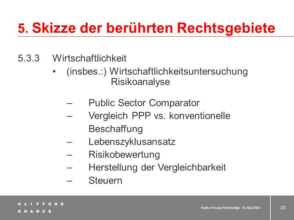 Public Private Partnership · 15. Mai 2007 22 5. Skizze der berührten Rechtsgebiete 5.3 Haushaltsrecht 5.3.1 Bundes- und (uneinheitliches) Landesrecht