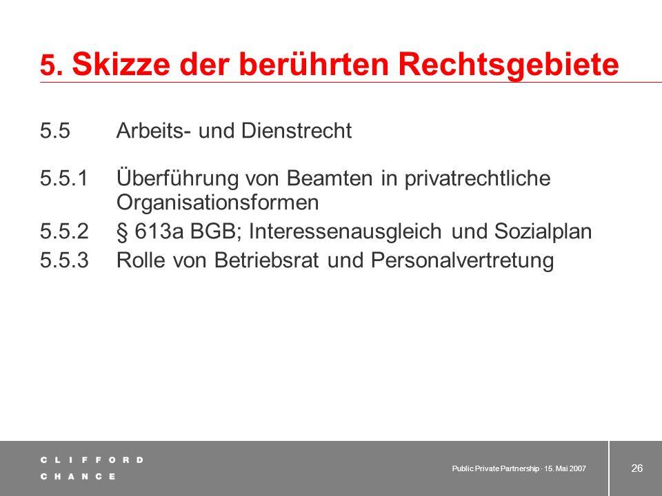 Public Private Partnership · 15. Mai 2007 25 5. Skizze der berührten Rechtsgebiete 5.4 Gesellschaftsrecht 5.4.1 Grundthemen –Kontrolle und Mitwirkung