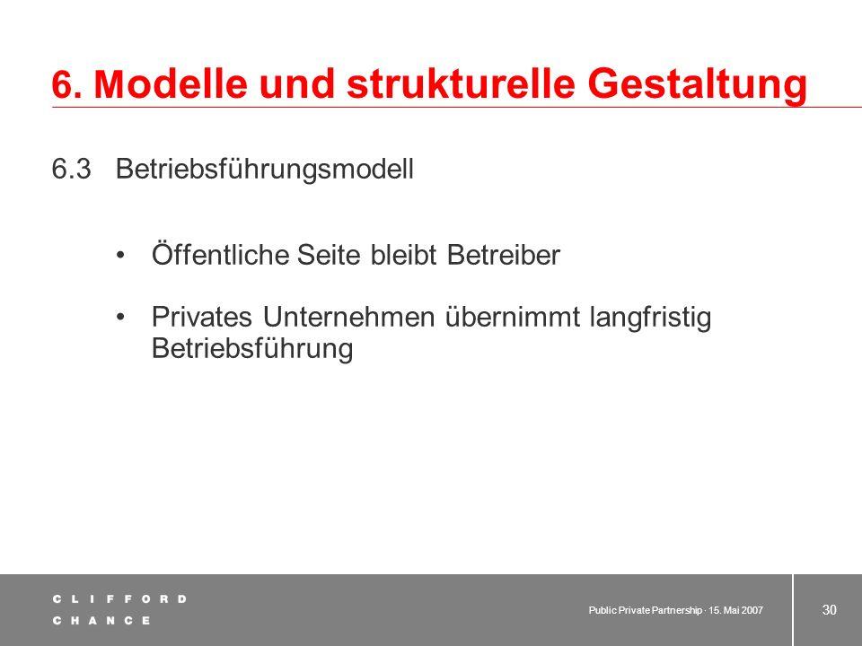 Public Private Partnership · 15. Mai 2007 29 6. M odelle und strukturelle Gestaltung 6.2 Konzessionsmodell Privatrechtliches Unternehmen mit unmittelb
