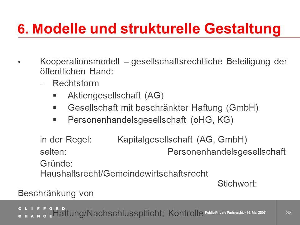 Public Private Partnership · 15. Mai 2007 31 6. M odelle und strukturelle Gestaltung 6.4 Kooperationsmodell Hoheitsträger und Privater gründen Gemeins
