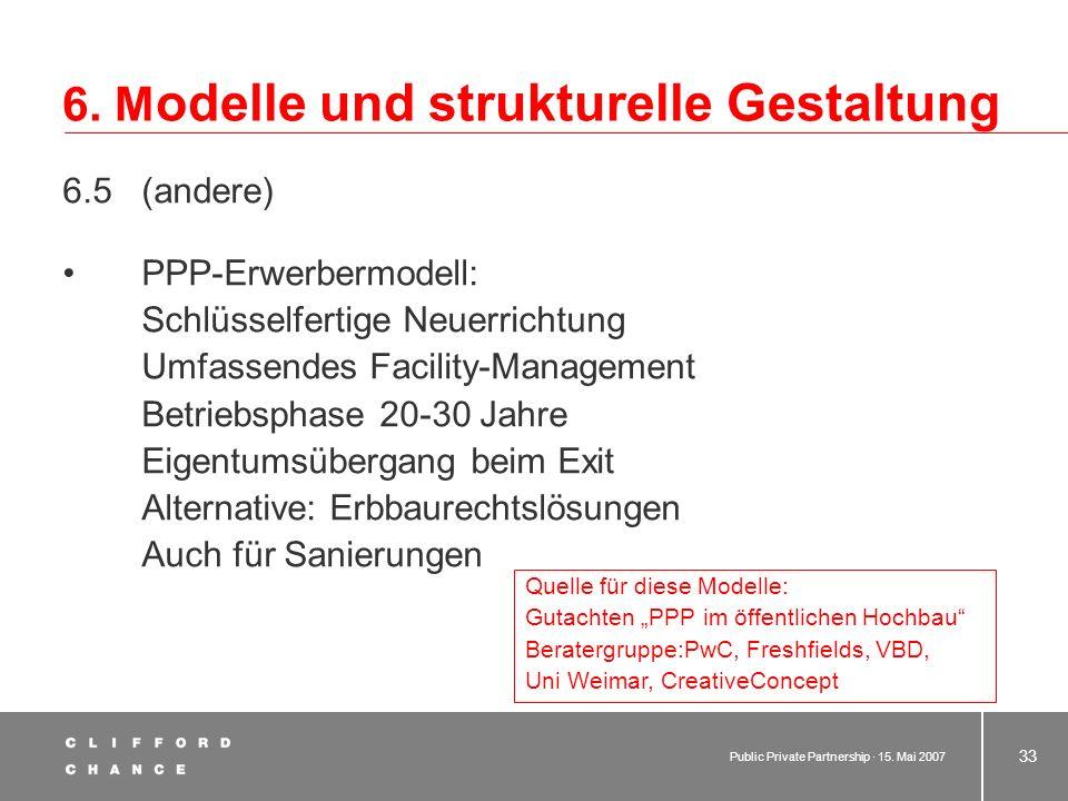 Public Private Partnership · 15. Mai 2007 32 6. M odelle und strukturelle Gestaltung Kooperationsmodell – gesellschaftsrechtliche Beteiligung der öffe
