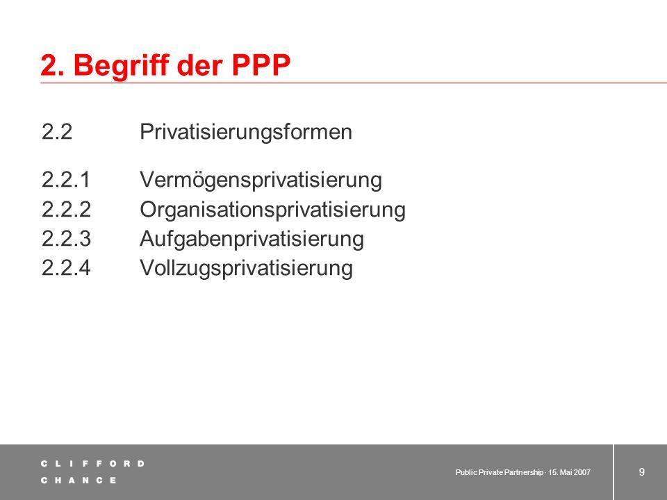 Public Private Partnership · 15. Mai 2007 8 2. Begriff der PPP 2.1 Bisherige Formen der partnerschaftlichen Zusammenarbeit zwischen Privaten und der ö