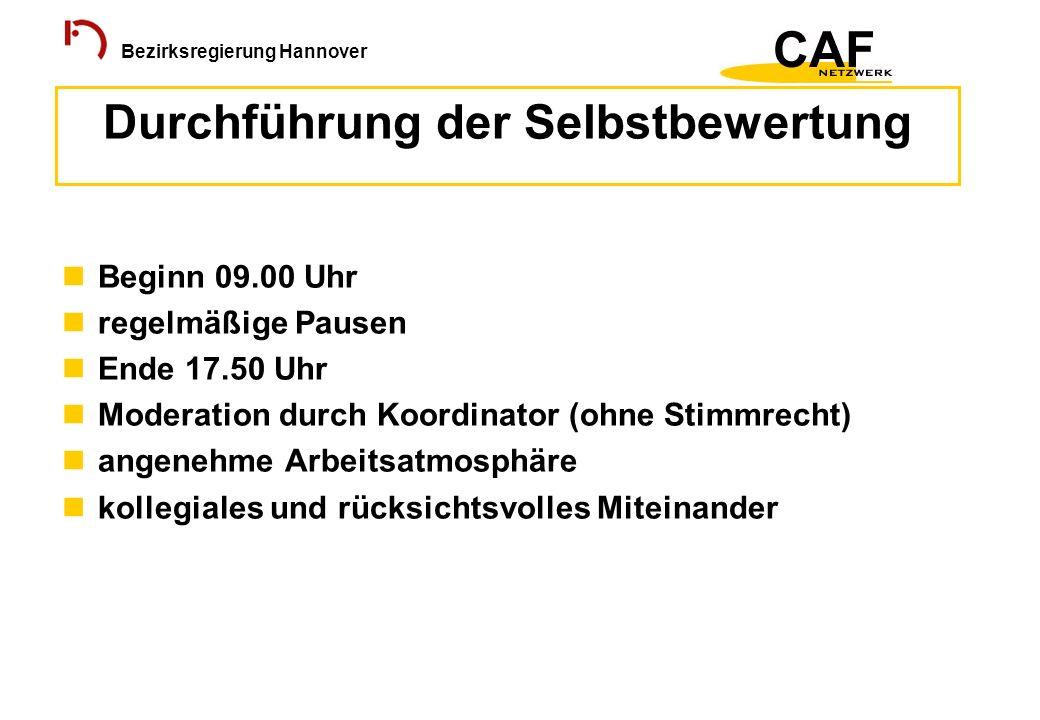 Bezirksregierung Hannover Beginn 09.00 Uhr regelmäßige Pausen Ende 17.50 Uhr Moderation durch Koordinator (ohne Stimmrecht) angenehme Arbeitsatmosphär