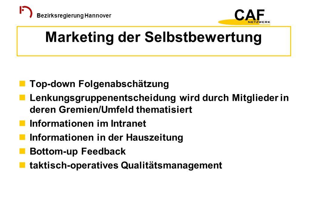 Bezirksregierung Hannover Top-down Folgenabschätzung Lenkungsgruppenentscheidung wird durch Mitglieder in deren Gremien/Umfeld thematisiert Informatio