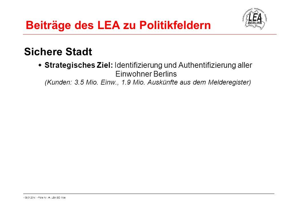 - 09.01.2014 - Folie Nr. 11, LEA StD Moe Beiträge des LEA zu Politikfeldern Sichere Stadt Strategisches Ziel: Identifizierung und Authentifizierung al