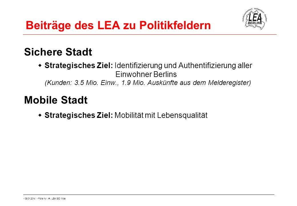 - 09.01.2014 - Folie Nr. 12, LEA StD Moe Beiträge des LEA zu Politikfeldern Sichere Stadt Strategisches Ziel: Identifizierung und Authentifizierung al