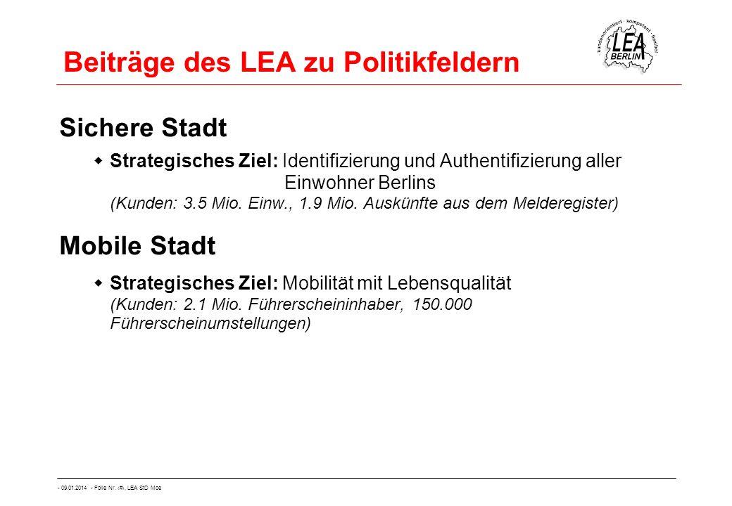 - 09.01.2014 - Folie Nr. 13, LEA StD Moe Beiträge des LEA zu Politikfeldern Sichere Stadt Strategisches Ziel: Identifizierung und Authentifizierung al